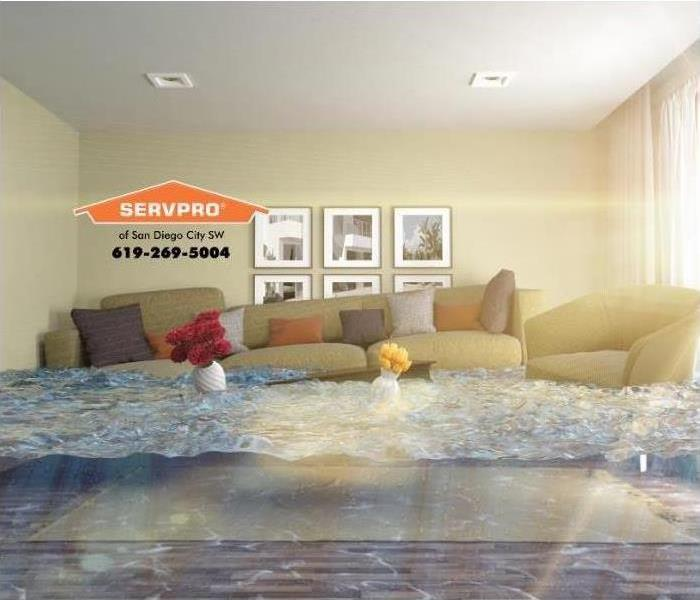 living room with flooding